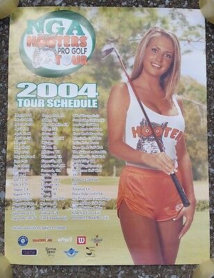 NGA Hooters Girls Uniform Pro Golf Tour 2004 Schedule Poster Michelob Beer Air