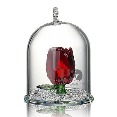 H&D Crystal Red Rose Figurine Hanging Deco Pendant Xmas Wedding Gift Ornaments
