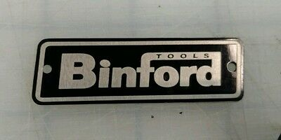 Metal Binford Tools Tool Box Tag Aluminum Nameplate Custom Made