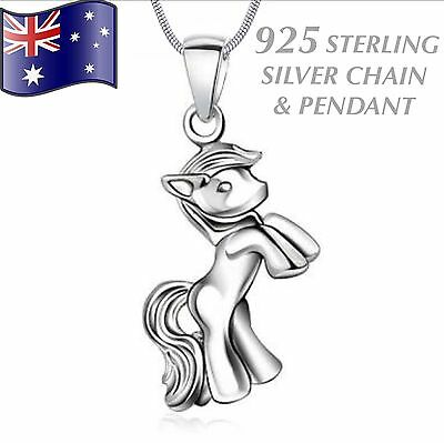 Genuine 925 STERLING SILVER Horse Pony Pendant & Chain Charm Necklace Women Gift
