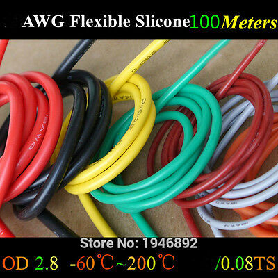 100Meters 18awg Flexible Silicone Electrical Wires RC Cable 10 Colors Can choose