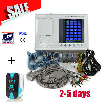 12-lead 3-channel Electrocardiograph EKG ECG System with interpretation CE US