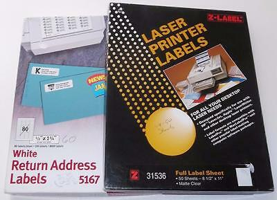 Laser Labels, Avery Return Address #5167 & Z-Label Full Label Sheets #31536