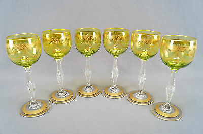 Set of 6 St Louis Chartreuse & Clear Gold Encrusted Crystal Wine Goblets C. 1900