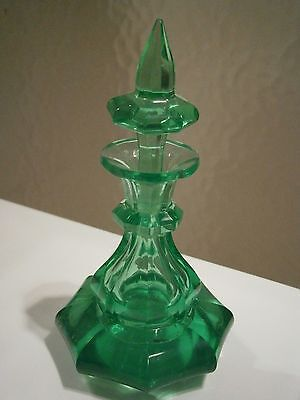 Rare 1840s Victorian Emerald Green Uranium Glass Perfume Bottle