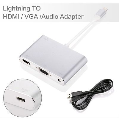 For APPLE iPhone 6 7 plus 5S 8Pin Lightning to HDMI VGA Digital AV Adapter Cable