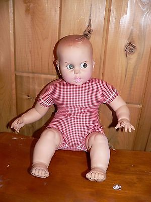 Vintage GERBER BABY doll~17 Inch Doll~1970 red White Gingham~Moving Eyes~