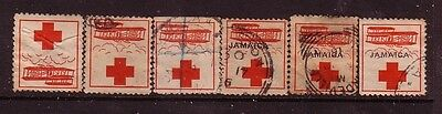 JAMAICA....  1915  red cross labels mint or used x6