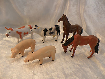 Farm Animals Schleich Style Lot Of 6 Bull Cow Horses Pigs Nice