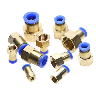 2Pcs Air Pipe Fitting Hose Tube To BSP Female Thread Brass Pneumatic Connector