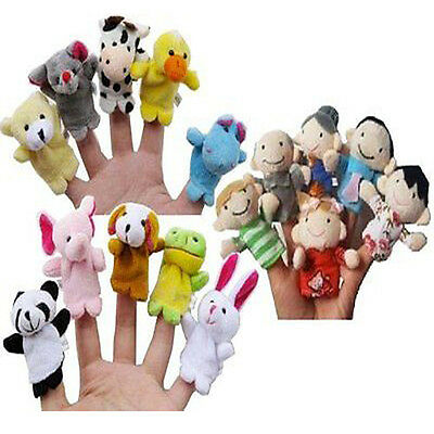 10PCS Soft Plush Animal Finger Puppets Cloth Baby Educational Hand Toy Gift