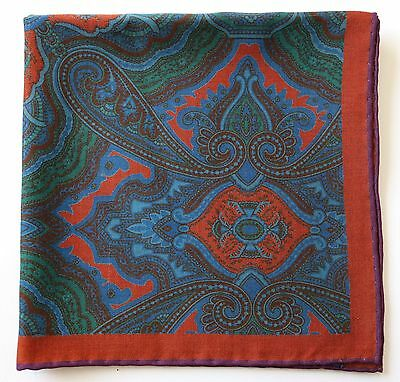 Terracotta & blue Paisley wool & silk Pocket Square Neckerchief. Hand rolled