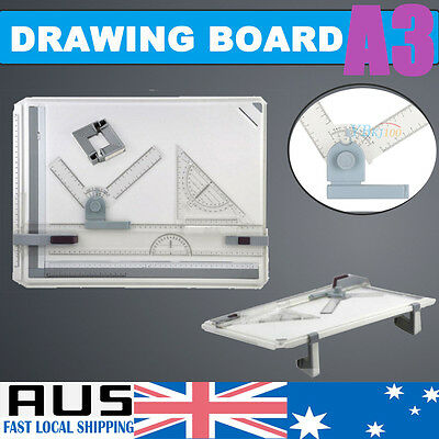 A3 Drawing Board Draft Table W/ Parallel Motion Adjustable Angle Measuring Tool