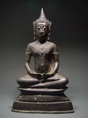 ANTIQUE BRONZE MEDITATING AYUTTHAYA  CROWNED BUDDHA TEMPLE RELIC 17th C THAILAND