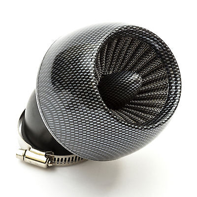 Pitbike Motorcycle Carburettor Jet Air Filter KN 48mm Carbon Fibre Angled Neck