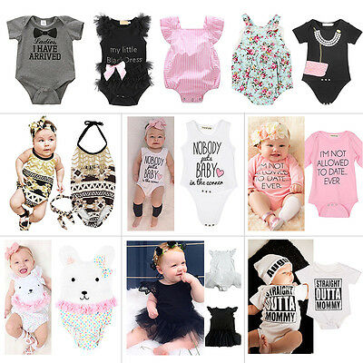 Infant Toddler Kids Baby Boy Girl Cotton Romper Jumpsuit Bodysuit Clothes Outfit