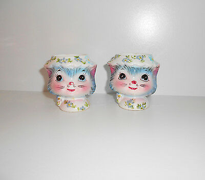 Vintage 1950s Lefton Kitten face Egg Cups Pair Miss Priss Collectable Rare MIJ