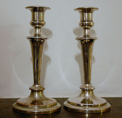 Superb Pair Of Antique Silver Plated Candlesticks On Copper  26cm High