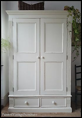 Large Vintage Hand Painted Antique Pine Wardrobe Farrow & Ball