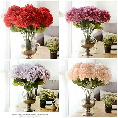 5 Heads Beauty Artificial Fake Silk Flower Leaf Bouquet Wedding Party Home Decor