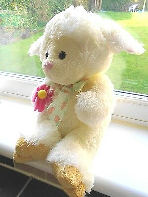 **sweet Faux Plush Pile *lucy Lamb* Toy Comforter**picked Flower & Carrot Ribbon