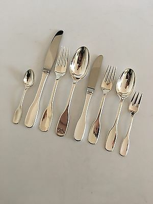 """Susanne"" Hans Hansen Sterling Silver Flatware Set for 12 People. 96 Pieces"