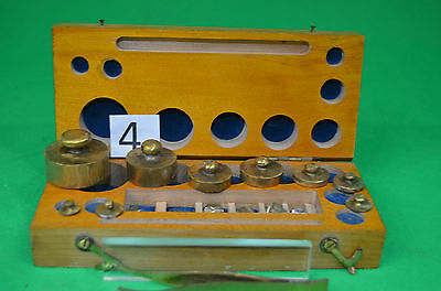 Brass Apothecary Weights With Micro Weights & Tweesers In Fitted Beech Case