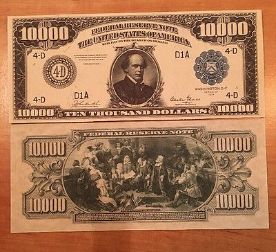 Copy Reproduction 1918 $10,000 FRN US Currency Paper Money Note