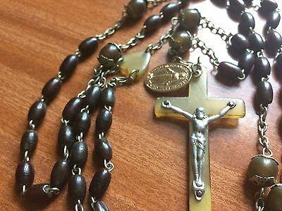 Lovely Old black Rosary with olive Heart , cross, large beads, silver Jesus