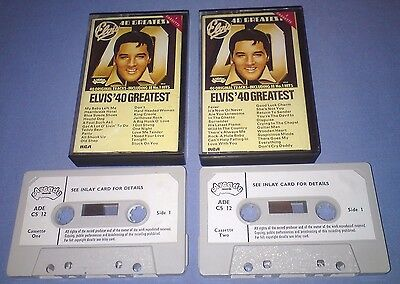 ELVIS PRESLEY ELVIS' 40 GREATEST PAPER LABELS Double cassette tape album T3974