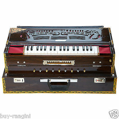HARMONIUM No. 6400tw/CALCUTTA/MAHARAJA/TEAK/37 KEYS/FOLDING/4 REED/COUPLER/BDF-1