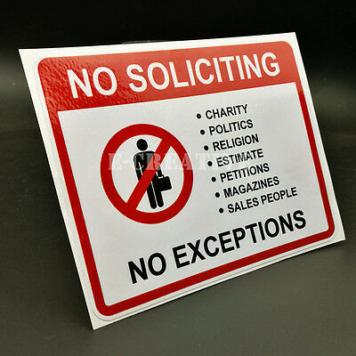 2 No Soliciting Vinyl Decal   Sticker   Window Label Solicitors Sign Trespassing