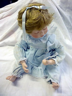 """VINTAGE SUSAN WAKEEN DOLL 16"""" Tall Porcelain with Jointed Cloth Body"""
