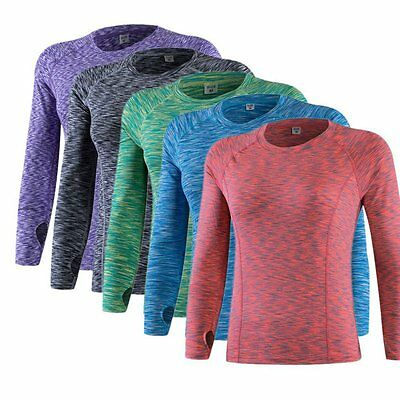 Womens Compression Armour Base Layer Top Long Sleeve Thermal Gym Sports Shirt AU
