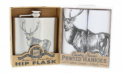 Men's Matching Hipflask & Hanky Gift Set Fishing/Stag/Horse/Country