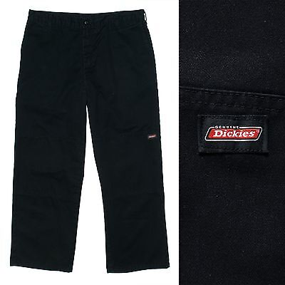 Mens Dickies Plain Black Work Trousers Pants Chore Cargo Carpenter W36 L30