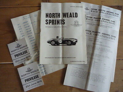 *RARE 1975 North Weald Sprints Motor Racing Programme; Tags; Entry Forms; Times