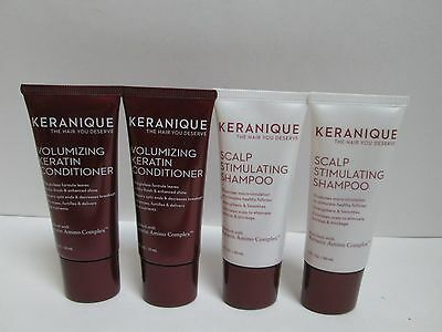 (2) KERANIQUE Scalp Stimulating Shampoo & Volumizing Keratin Conditioner 1 oz ea