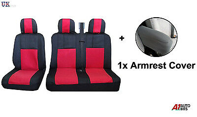 2+1 Red Fabric Seat & Armrest Covers For Peugeot Partner Citroen Berling Van