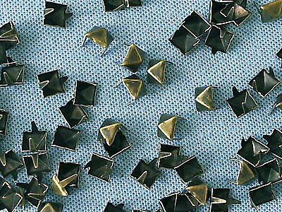 50 x Pyramid Clothing studs antique brass colour 8mm STUD 004