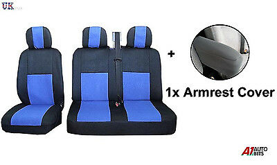 2+1 Blue Black Fabric Comfort Seat & Armrest Covers Set For Iveco Daily
