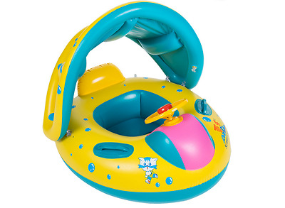 Inflatable Toddler Baby Swim Ring Float Kid Swimming Pool Boat Seat With Canopy