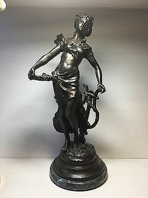 """L. F. Moreau Signed Bronze French Sculpture Woman w/ Harp 17"""" Marble Base"""