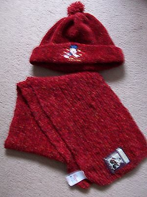 Girls Disney Hat & Scarf Set~Minnie Mouse~Rustic Red~Age 3/7 The Disney Store