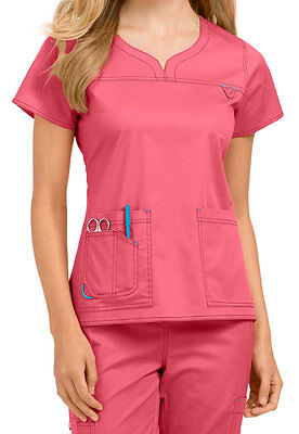 NEW Med Couture Womens Uniform Scrub Set Lexi Top 8489  Pant 8738 Flamingo/Oasis