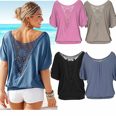 UK6-20 Ladies Loose T Shirt Short Sleeve Blouse Summer Casual Tops Plus Size