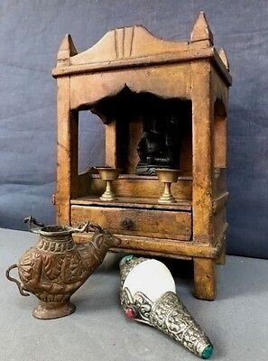 Antique/vintage Indian Teak Home Temple. Sacred Hindu Shrine, Distressed Mustard