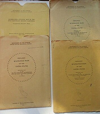 4 Colored U.S. Geological Survey Maps, California