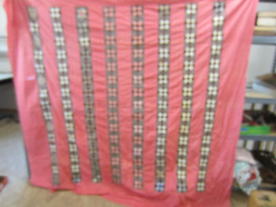 Early 1900's Hand Sewn Quilt Top Only- Pink & Brown 9 Patch