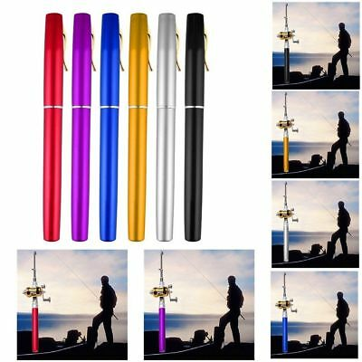 Hot Portable Aluminum Alloy Pocket Pen Shape Fish Fishing Rod Pole With Reel MU